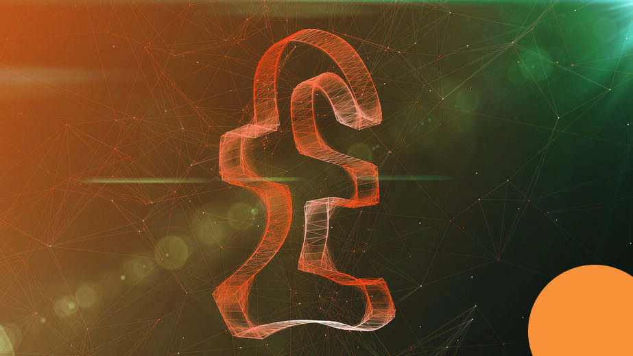 A wonderful 3d illustration of a beaming crystal pound sign spinning aside. It is located in the center of a khaki and green cyberspace with thin internet connections.